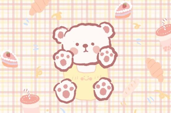 手绘萌萌哒小熊苹果平板壁纸