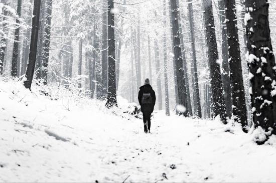 <雪中孤独的人背影