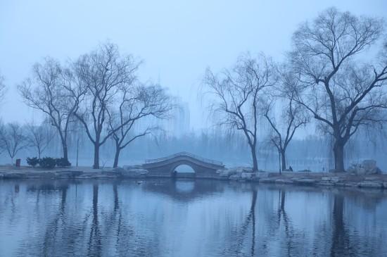 玉渊潭雾气笼罩美景