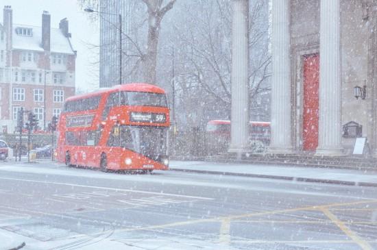 伦敦的暴雪景色