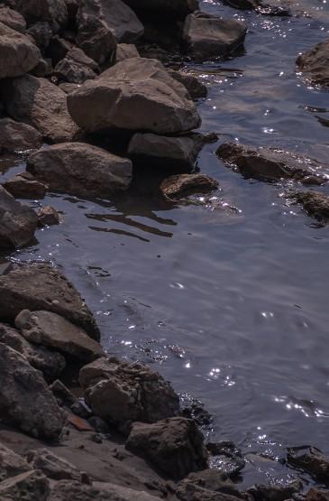 波光粼粼的江面景色