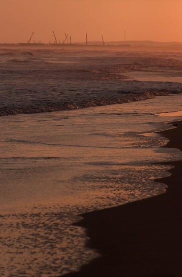绝美的黄昏海岸