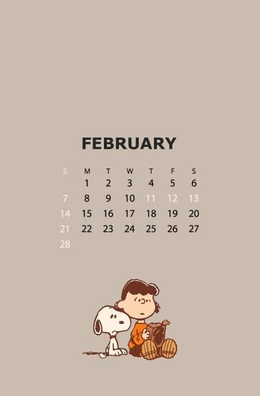 2021年2月史努比日历