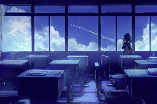 日系少女唯美手绘背景