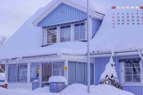2021年1月冰雪世界唯美日历