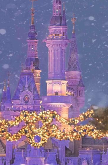 迪士尼乐园圣诞节夜景