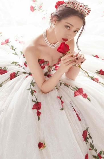 迪丽热巴玫瑰刺绣礼服高贵写真
