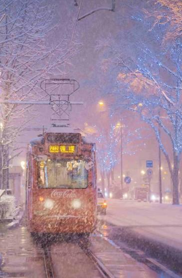 北海道夜晚迷人雪景